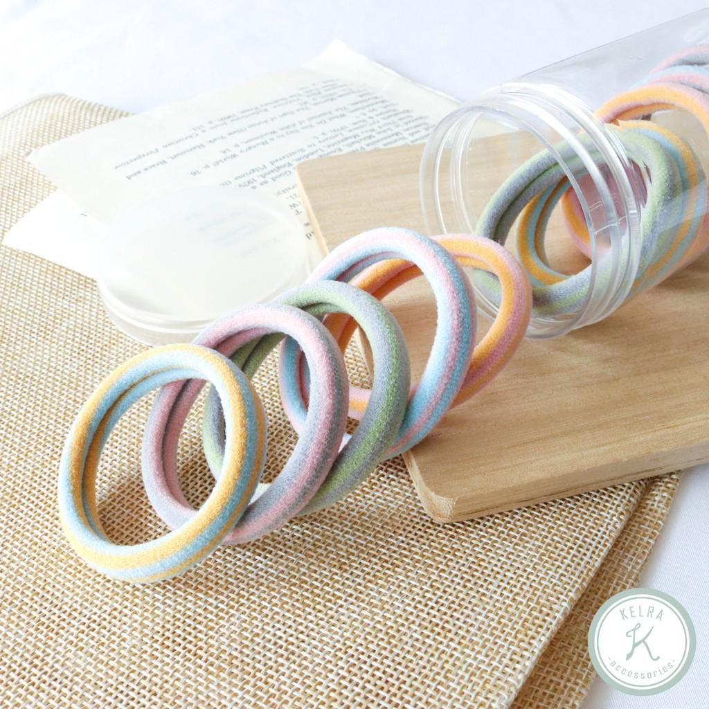 【KELRA】運動風色彩條紋棉質彈性髮圈罐