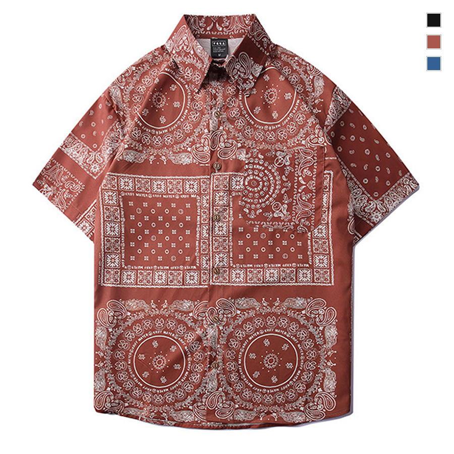 日系復古腰果圖紋短袖襯衫