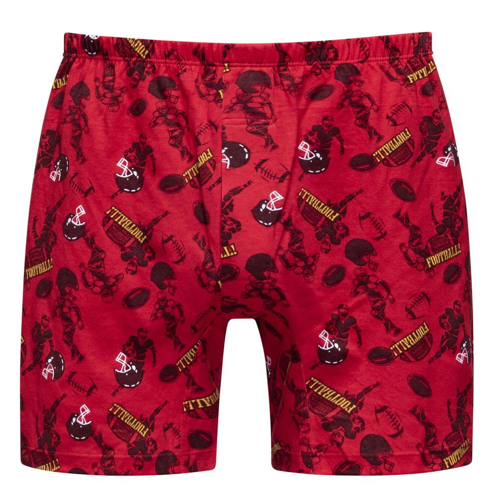 DADADO-競技橄欖球 M-3L印花四角男內褲(紅) 天然絲光棉-吸濕排汗-GHP120RS