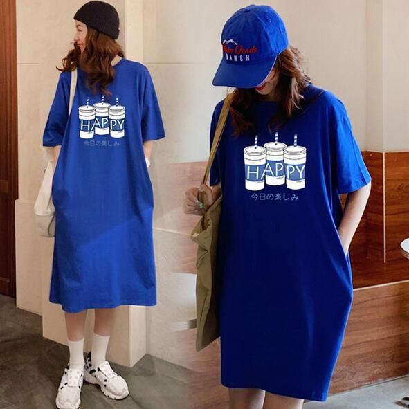 洋裝 連身裙 中大尺碼M-4XL新款ins口袋寬鬆印花T卹長短款連衣裙4F049B-9541.胖胖美依