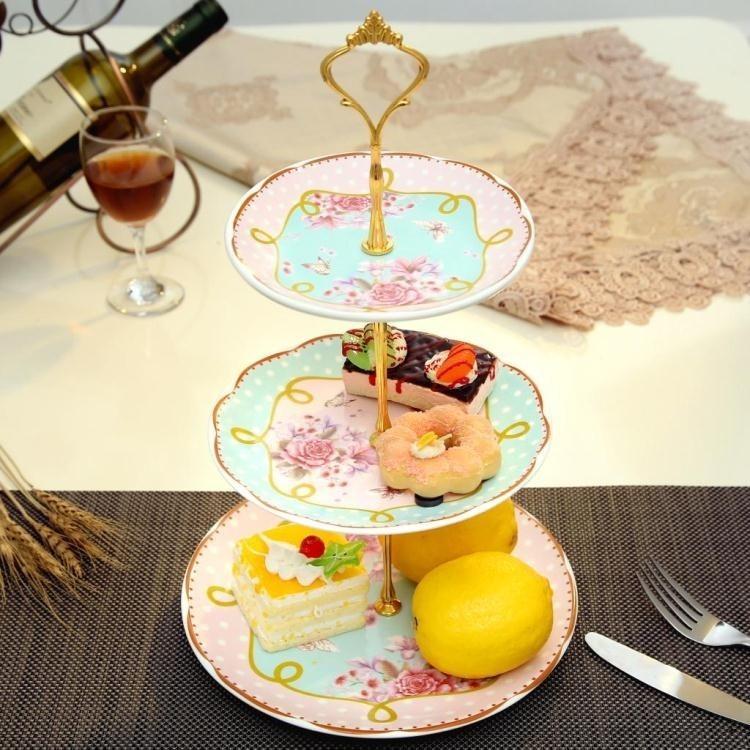水果盤 陶瓷水果盤客廳創意現代 下午茶點心架玻璃蛋糕籃 三層干果托盤子 - 唯美三層盤029