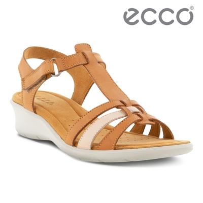 ECCO FINOLA SANDAL 皮革編織舒適坡跟涼鞋 女鞋 棕色/灰粉色