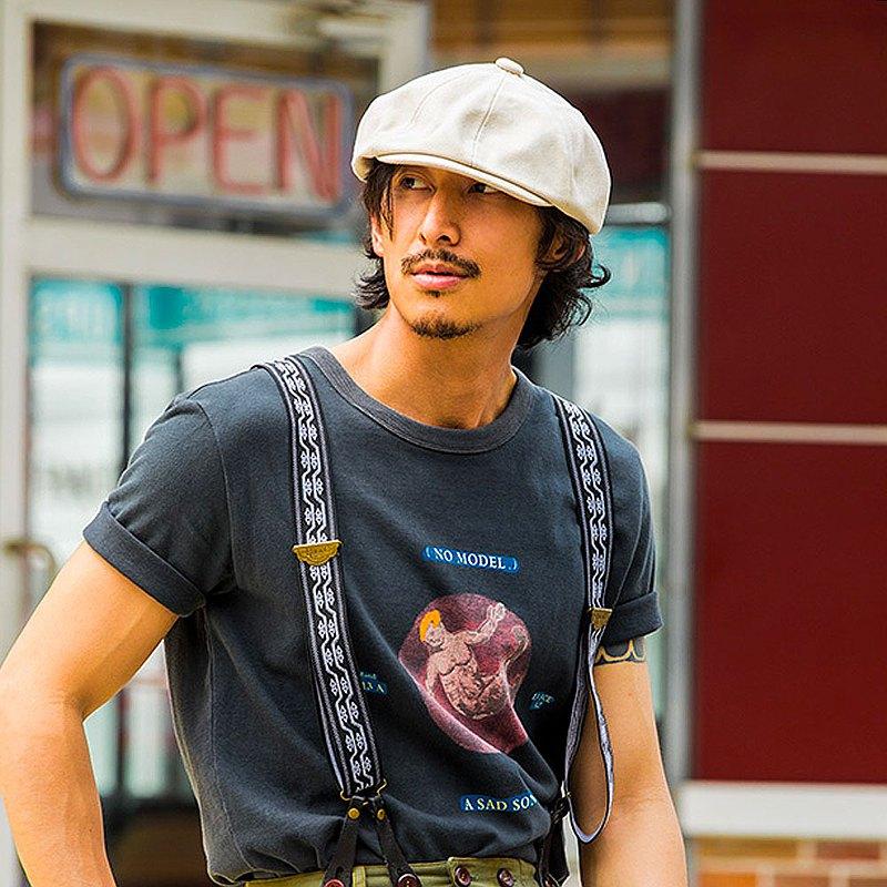 SOARIN AMEKAJI純棉圓領人物印花工裝T-SHIRT-黑色短袖 (212T404)