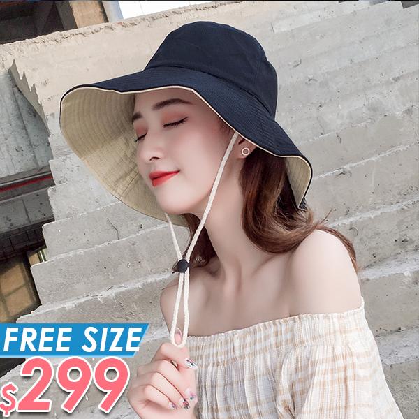 帽子 漁夫帽雙面大檐帽防曬遮陽帽 棉花糖女孩 【NW09162】
