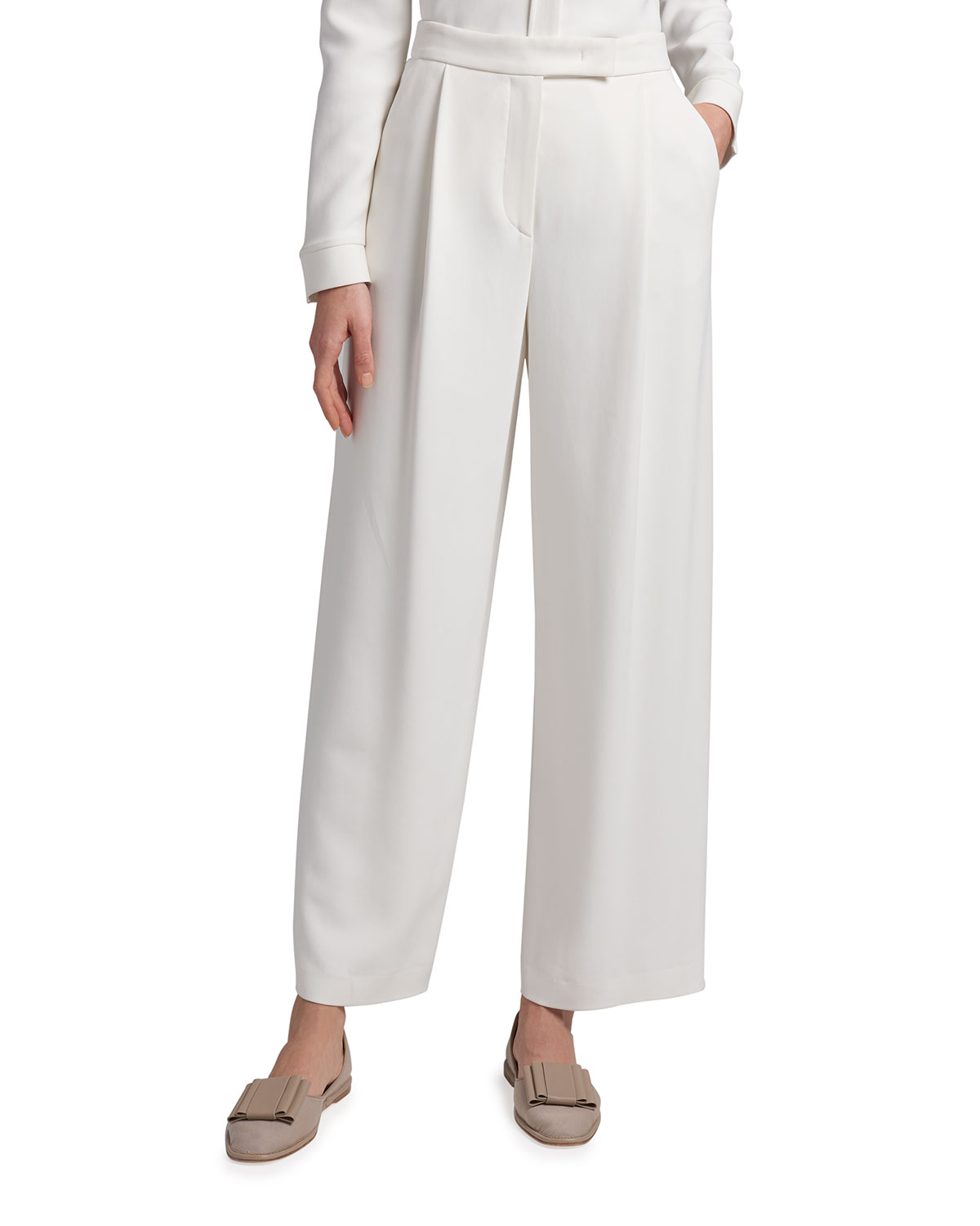 Pleated Wide-Leg Cady Tousers