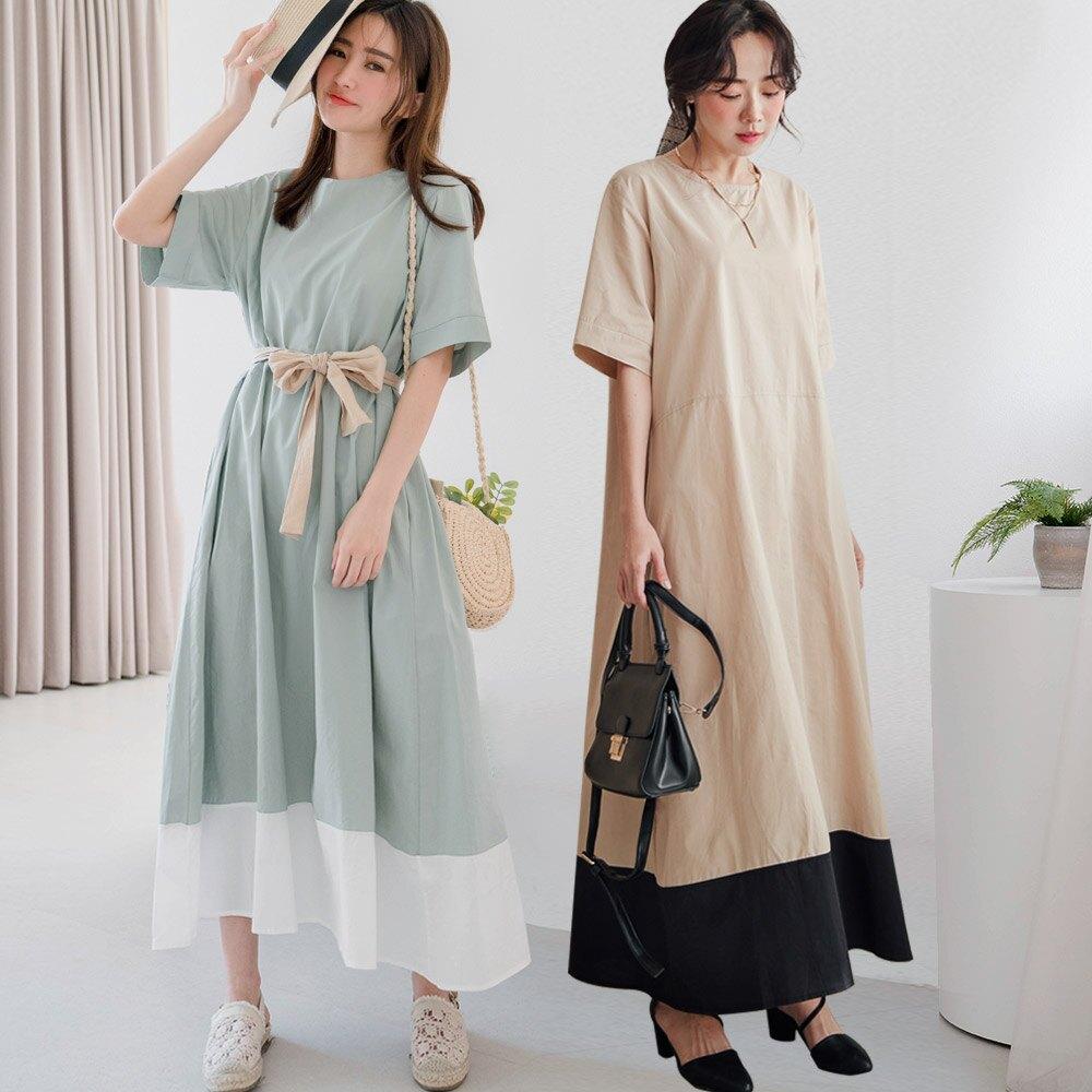 MIUSTAR 寬鬆版型配色裙襬棉麻洋裝(共2色)洋裝 短袖 0427 預購【NJ1046】