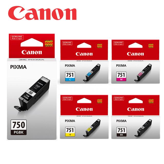 ★CANON PGI-750BK+CLI-751BK/C/M/Y 原廠墨水匣組合(2黑+3彩)