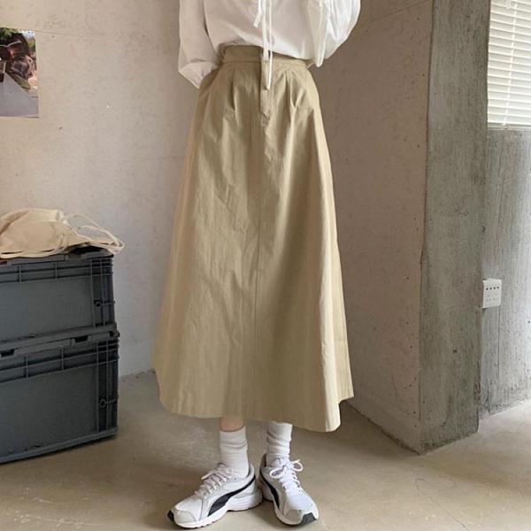 早春季2021年新款小個子A字半身長裙女高腰中長款設計感小眾裙子 果果輕時尚