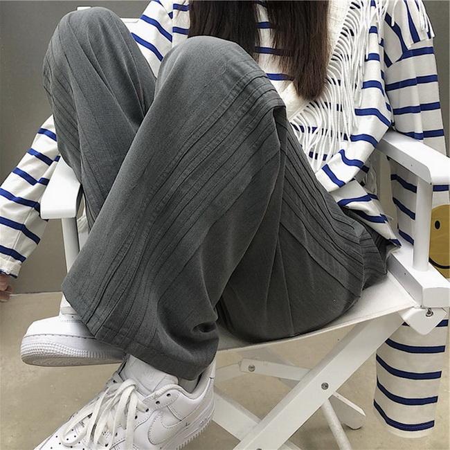 FOFU-西裝料潮流雜誌風韓版復古側邊條紋休閒西裝闊腿長褲潮【08SG06313】