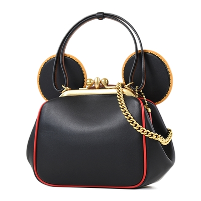 COACH x Disney 專櫃款 米奇耳朵復古釦手提/斜背二用鍊帶包-黑色