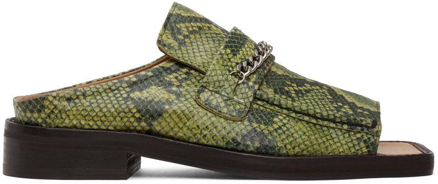 Martine Rose 绿色蛇纹露趾乐福鞋