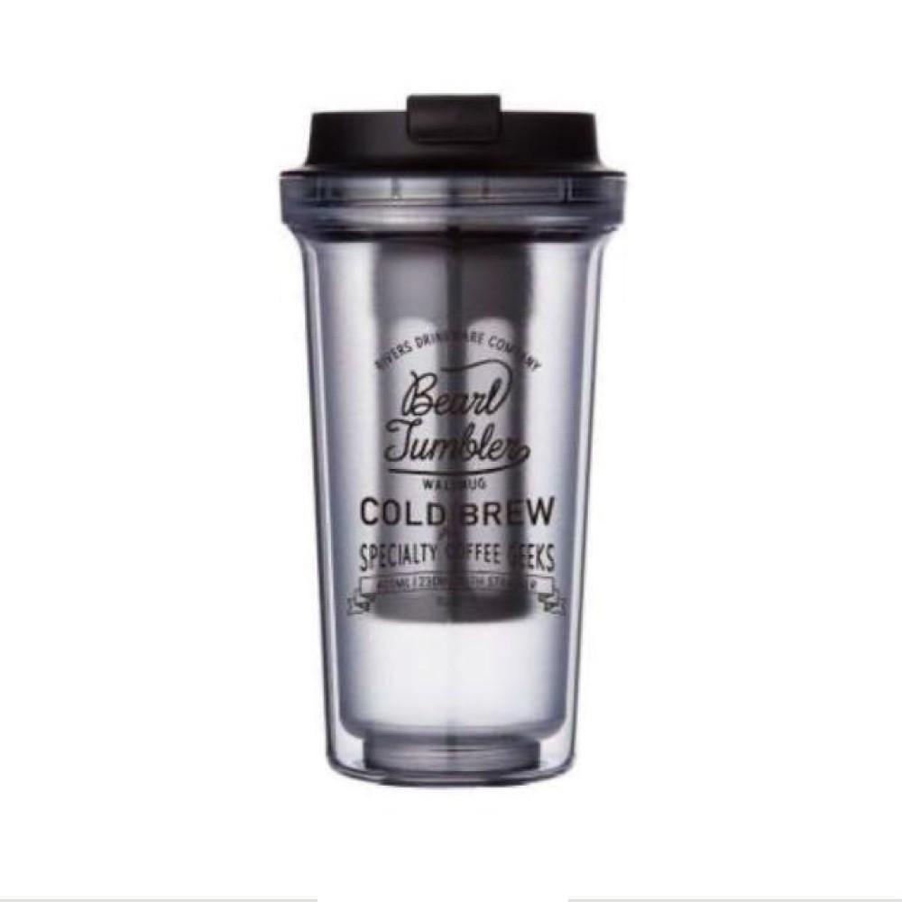 【日本Rivers】WALLMUG BEARL COLD BREW 雙層隨行冷萃咖啡杯-透明《泡泡生活》