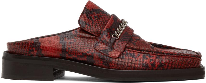 Martine Rose 红色蛇纹乐福鞋