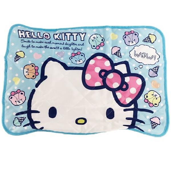 小禮堂 Hello Kitty 涼感枕頭套 涼感枕巾 冷感枕套 涼感寢具 43x60cm (藍 大臉) 4990270-13198