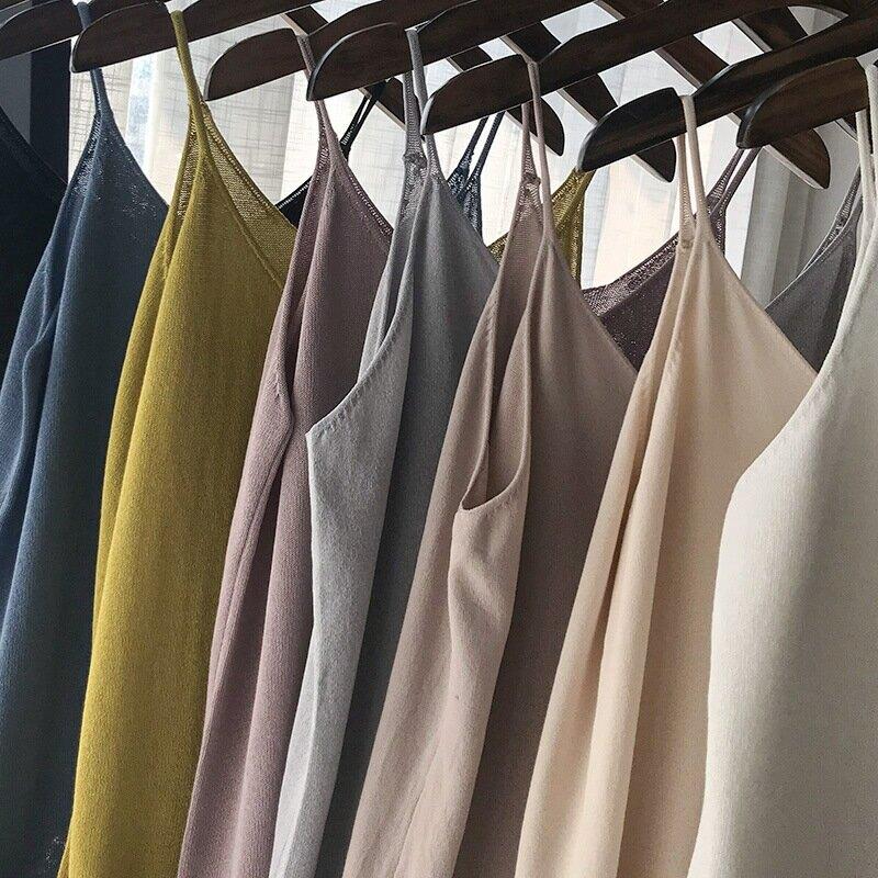 315-0154多色內搭外穿皆可女2020夏季韓版純色苧麻針織吊帶小背心