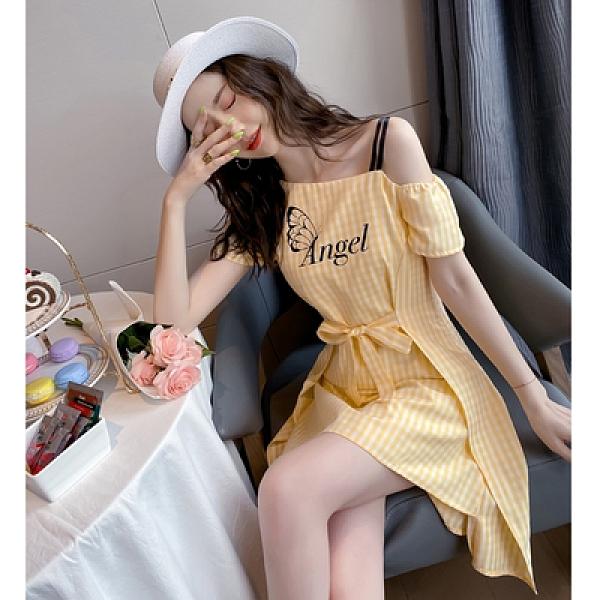 洋裝~裙子女夏新款法式小眾設計感格紋印花短款連衣裙T235-D胖妹大碼女裝