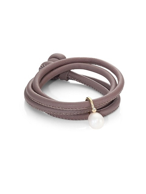 Diamond, 12MM White Oval Pearl, 14K Yellow Gold & Leather Wrap Bracelet