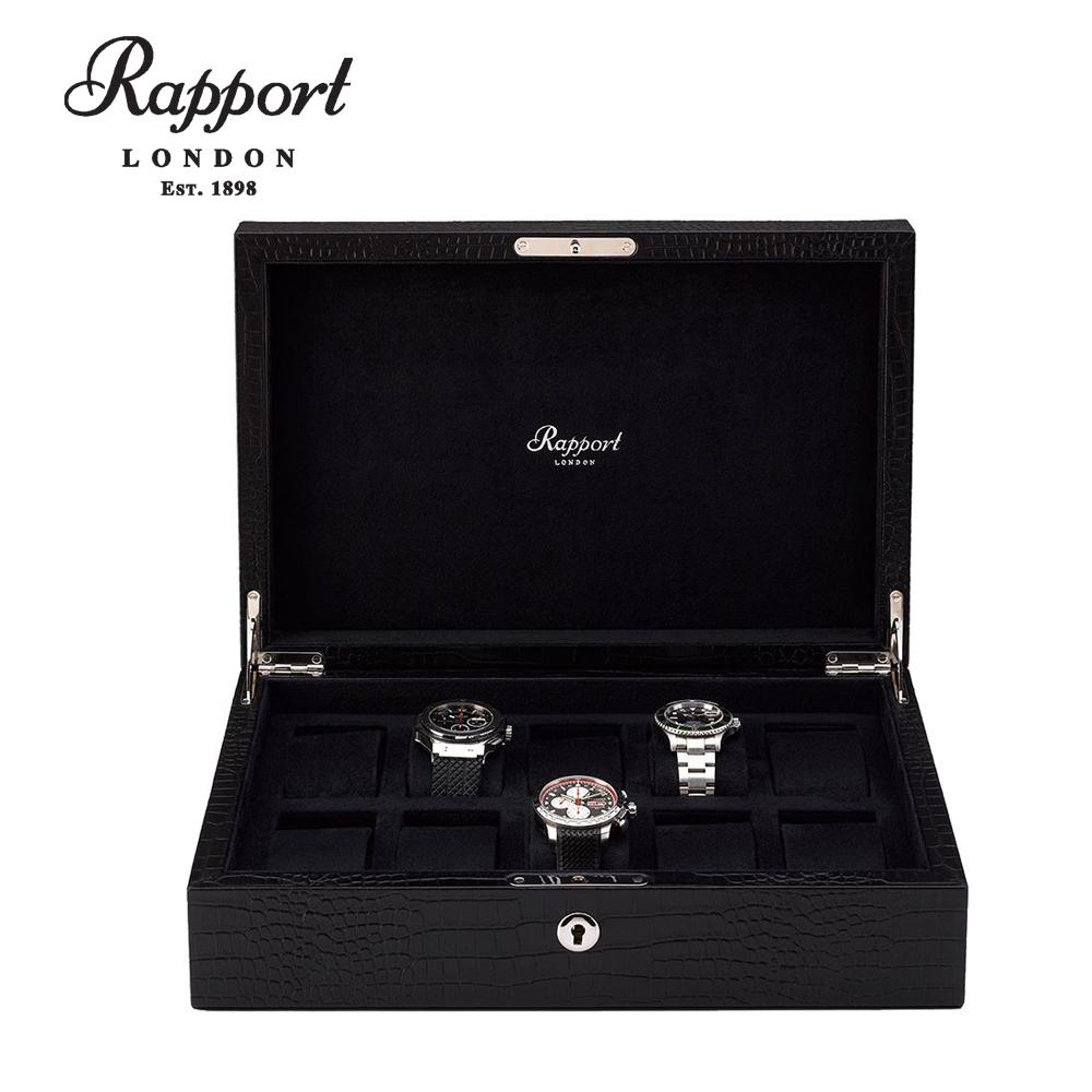 【英國 Rapport 名錶收藏盒】【真皮鱷魚花紋】 10支裝 手工精品 錶盒