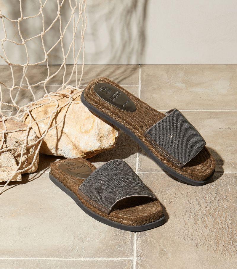 Brunello Cucinelli Embellished Espadrille Sandals