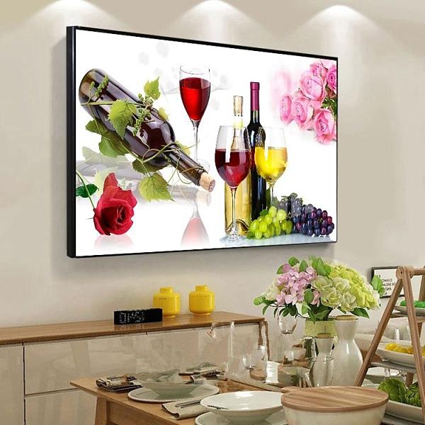 装饰画 新款餐廳裝飾畫單幅有框晶瓷畫客廳臥室墻掛畫飯廳單聯金屬框壁畫