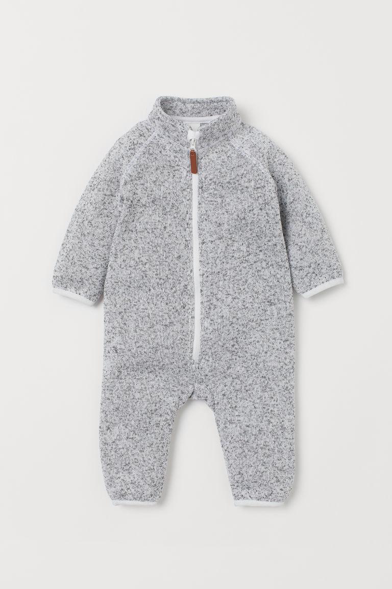 H & M - 絨毛針織連身裝 - 灰色