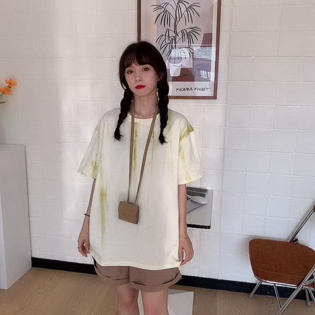 FOFU-彈性棉紮染短袖t恤女中長版【08SG06396】