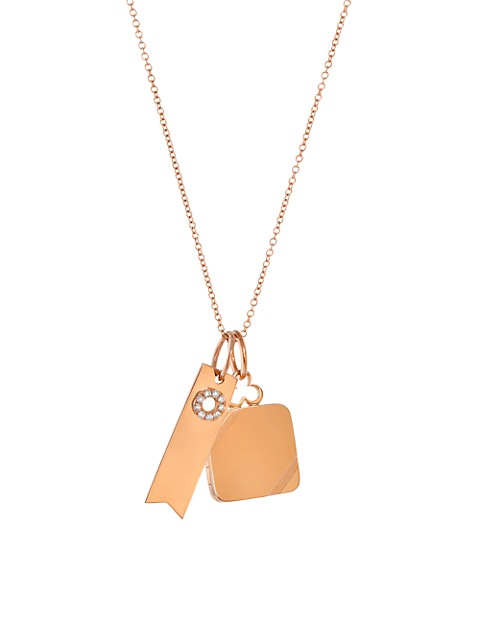 14K & 18K Rose Gold & Diamond Small Pillow Locket & Ribbon Tag 2-Charm Necklace