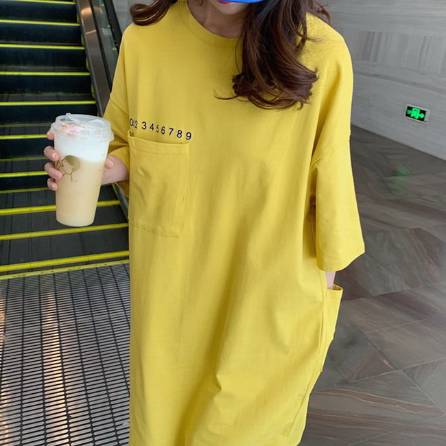 FOFU-棉刺繡字母口袋韓版慵懶風短袖T恤女長版連身裙【08SG06977】