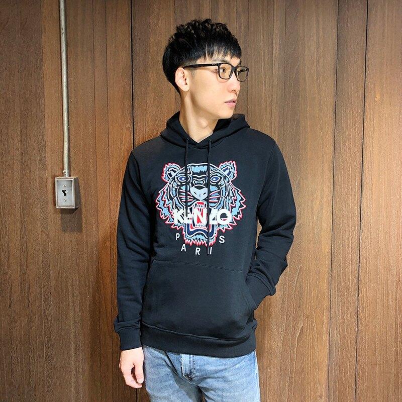 美國百分百【全新真品】KENZO 高田賢三 帽T 長袖連帽T恤 上衣 logo 刺繡虎頭 灰色 S-XL號 AR78