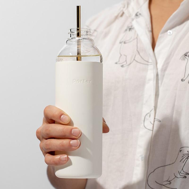 輕巧玻璃防漏水瓶/590ml 奶油白