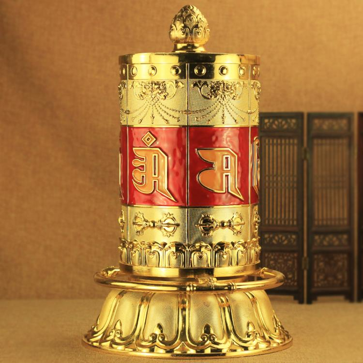 藏佛教開光 轉經輪 手撥轉經筒觀音六字大自在轉金桶家用招財擺件