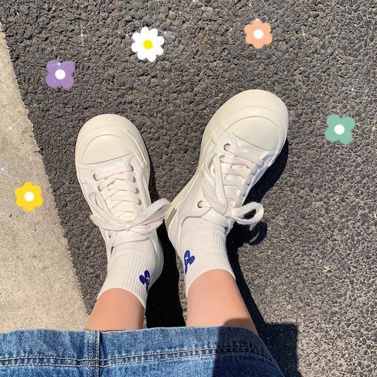帆布鞋女可愛風日系厚底增高百搭丑萌大頭鞋ins潮復古圓頭小白鞋 果果輕時尚