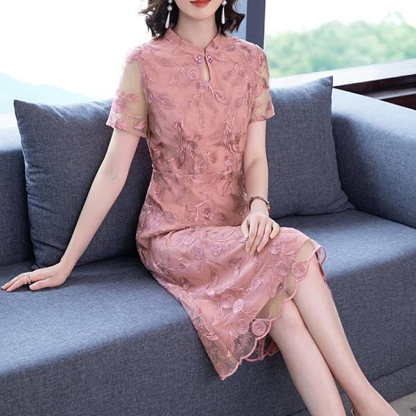 粉紅色ins媽媽禮服 中老年女裝連身裙旗袍新款40歲穿的氣質洋氣高貴喜婆婆婚宴裝 3C數位百貨