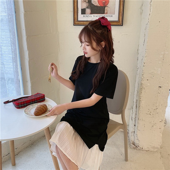 FOFU-棉夏季雪紡拼接短袖連身裙過膝長版裙子女【08SG06929】
