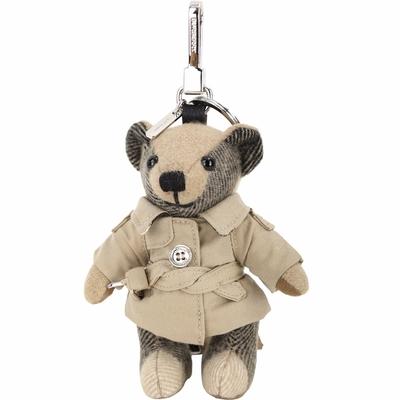 BURBERRY Thomas 風衣造型喀什米爾泰迪熊吊飾(典藏米色)