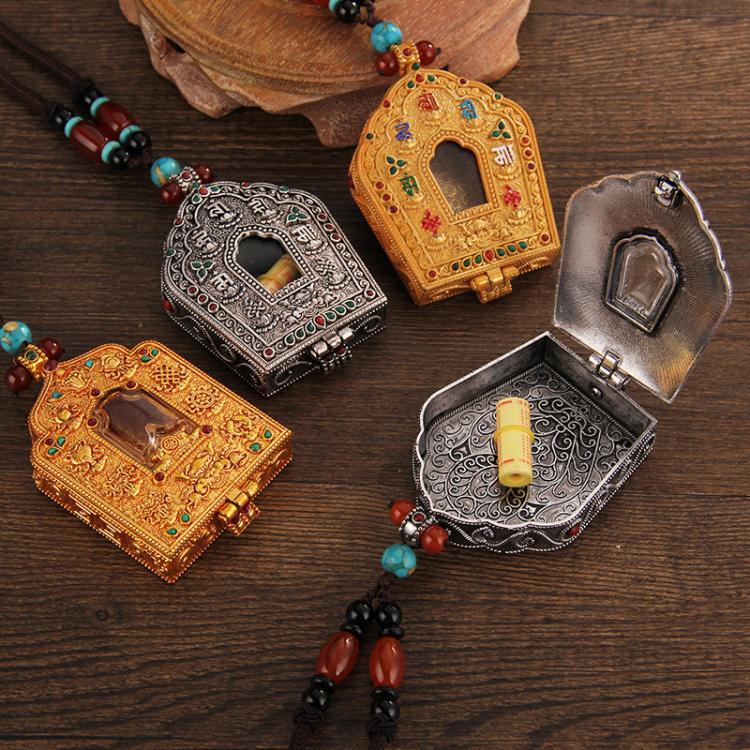 純銅藏式六字真言九宮八卦牌十相自在嘎烏盒護身符胎毛男女士吊墜