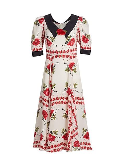 Rose-Print Silk A-Line Dress