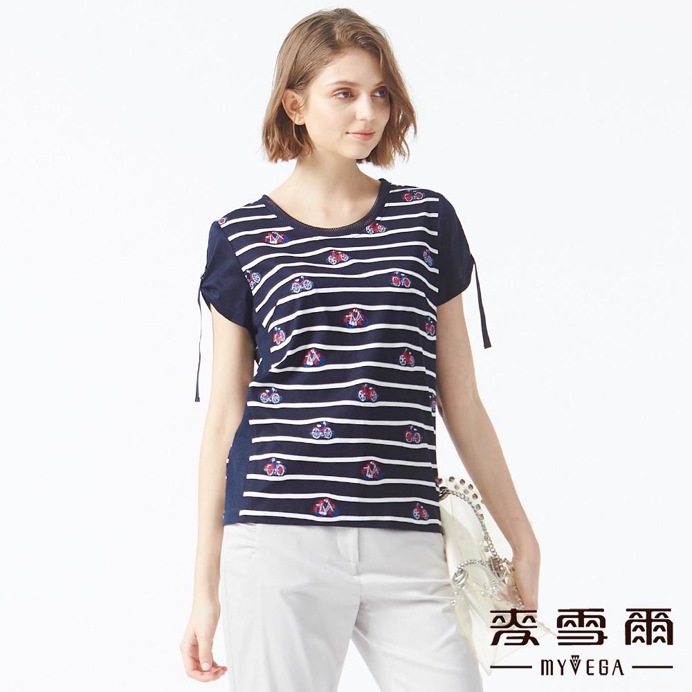【麥雪爾】絲光棉電繡腳踏車上衣-深藍