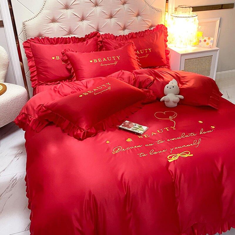 冰絲四件套 網紅水洗真絲四件套冰絲絲滑裸睡夏季床單被套床罩公主風床裙款4T