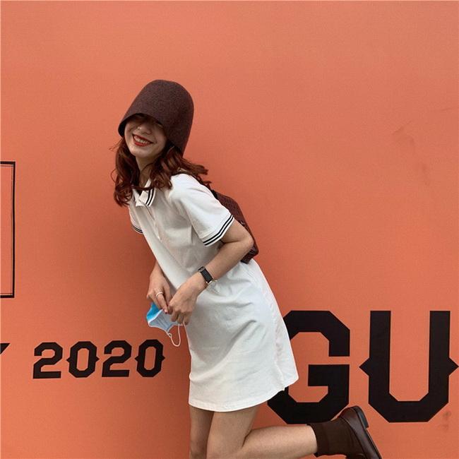 FOFU-棉polo領小個子連身裙夏中長版T恤裙短袖女【08SG06810】