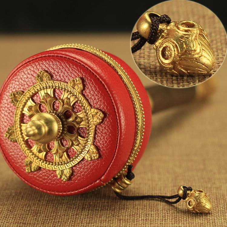 藏傳佛教用品法器純銅六字真言紅皮手搖轉經輪轉經筒10萬遍靜音型