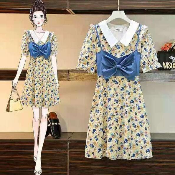 洋裝 碎花裙 中大尺碼L-4XL新款大碼女裝連身裙 4F007-9339.胖胖美依