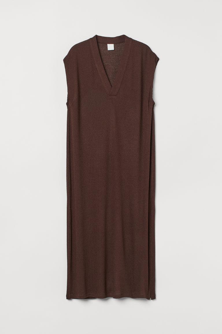H & M - 針織洋裝 - 褐色