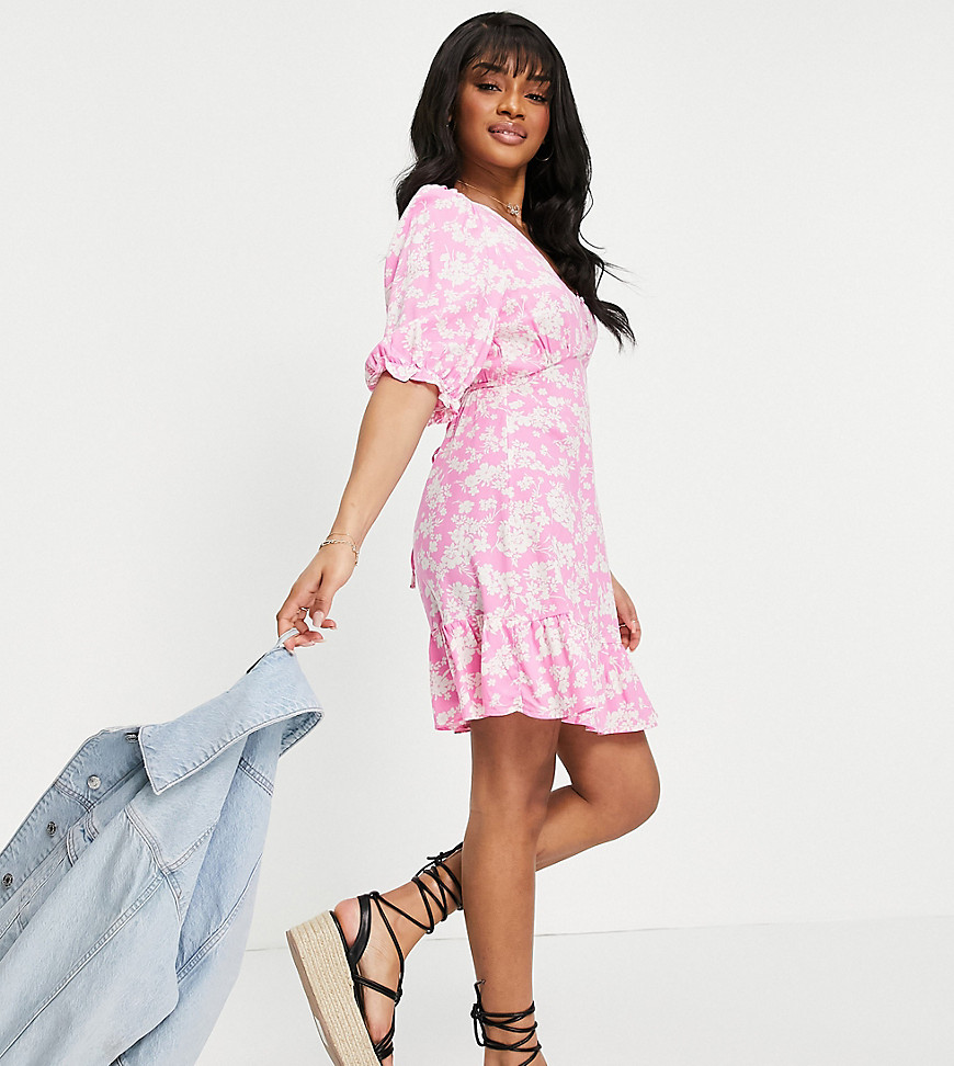 New Look Petite floral v neck button 3/4 sleeve tiered mini dress in pink pattern