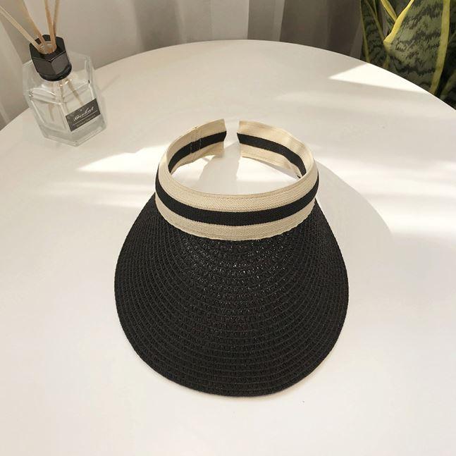 韓版編織款髮箍式中空遮陽防曬帽 黑色