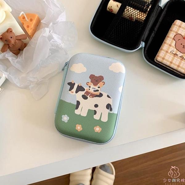 自制款奶牛小熊BEAR唇膏收納包便攜口紅化妝包拉鏈盒【少女顏究院】