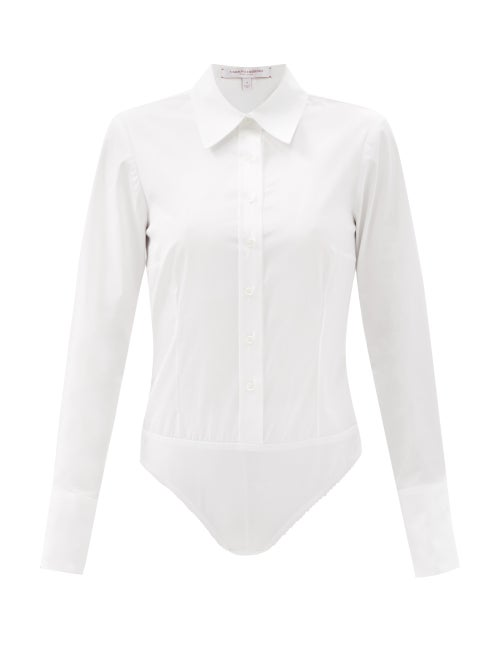 Carolina Herrera - Long-sleeved Cotton-blend Poplin Shirt Bodysuit - Womens - White