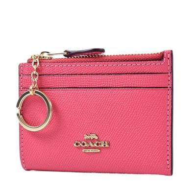 COACH 金字防刮皮革證件鑰匙零錢包-海棠紅