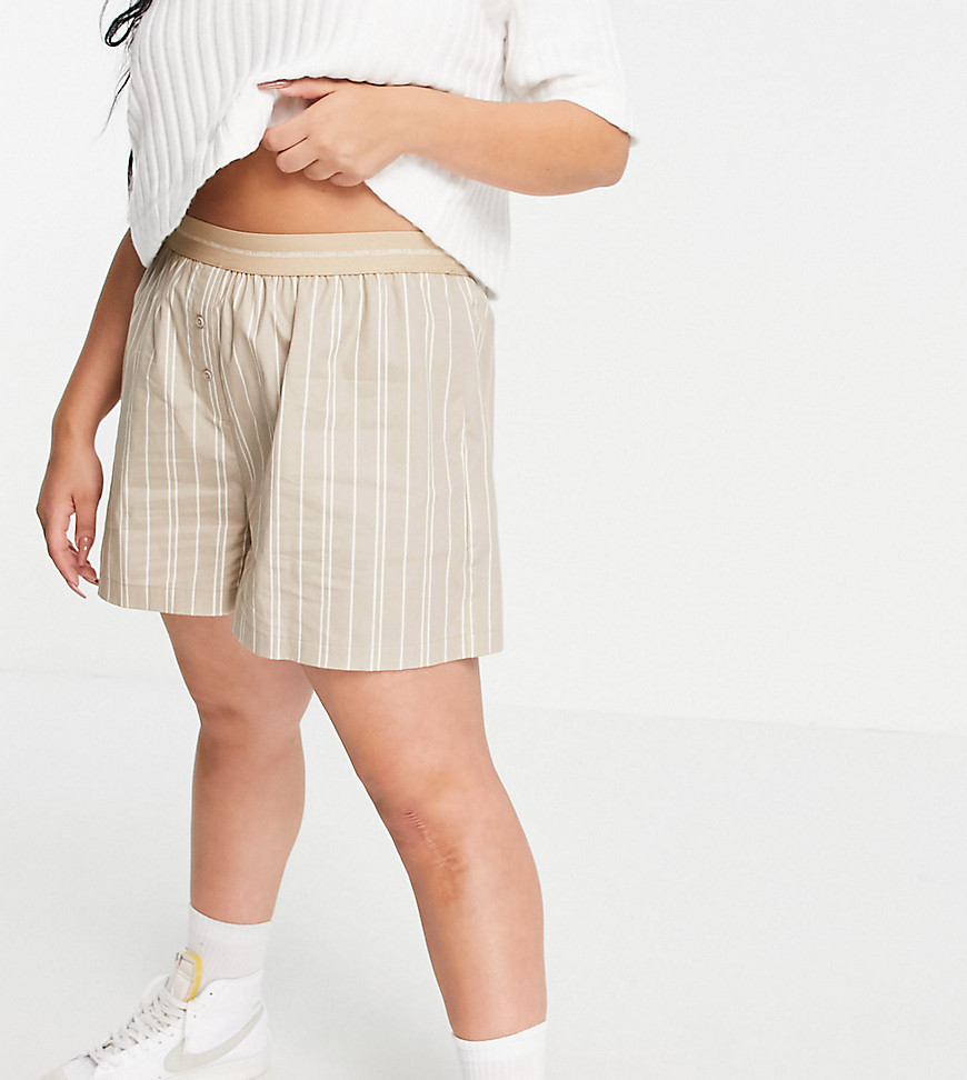 COLLUSION Plus shorts with branded waistband co-ord in beige stripe-Neutral