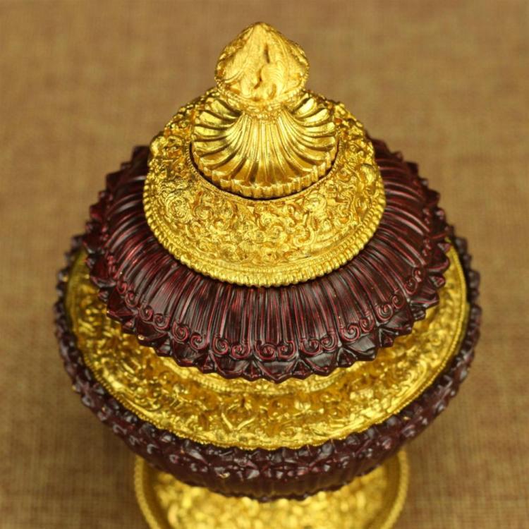 純銅米盒 藏傳佛教用品佛前供品米罐閼伽瓶如意瓶 三層米壺純銅